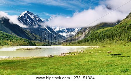 Akkem lake and Belukha the highest pick of Siberia, Altai mountains