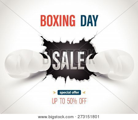 Boxing Day Sale On Crack Wall With Punch Poster Template. Vector Illustration For Promotion Advertis