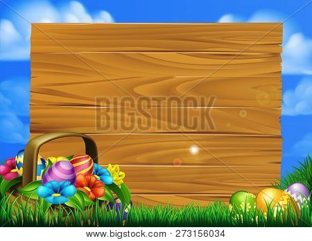 Cartoon Easter Eggs Basket Sign Scene With A Basket Of Chocolate Easter Eggs In A Field With A Big W