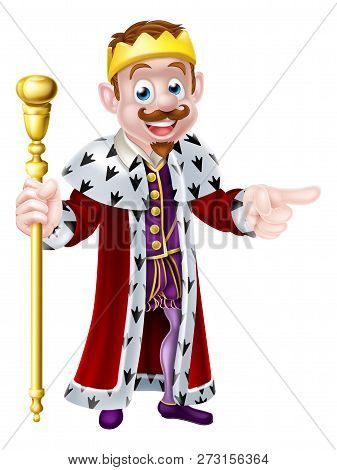A Cute King Cartoon Character Holding A Sceptre With One Hand And Pointing With The Other