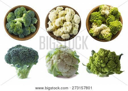 Broccoli, Cauliflower And Roman Cauliflower In Wooden Bowl Isolated On A White Background. Three Bow