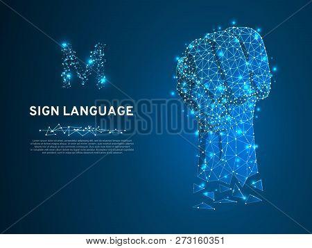 Sign Language M Letter, Russian Sing Dulya Figa Shish Kukish Behind Third Finger. Polygonal Space Lo