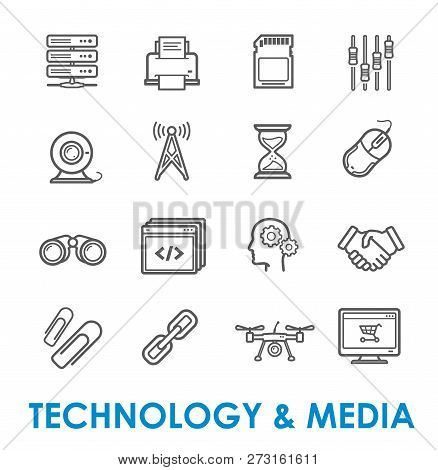 Computer Technology And Media Vector Icons Of Internet Communication And Connection. Thin Line Mouse