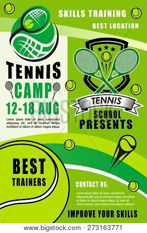 Tennis Sport Rackets, Balls And Green Court Field On Background. Tennis Camp With Best Trainers Of S