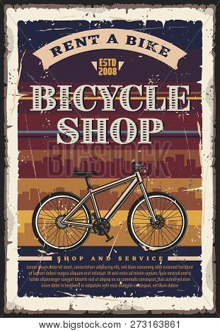 Bicycle Shop, Rent And Repair Service. Vintage Vector Bike With City Skyline On Background. Bike Tou