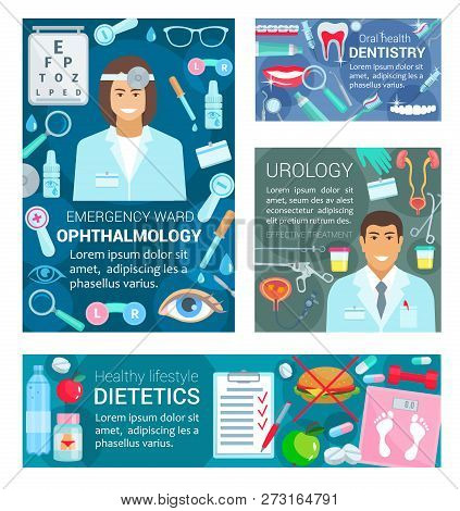 Doctors Of Dentistry, Urology, Ophthalmology And Dietetics Medicine. Vector Dentist, Urologist, Opht