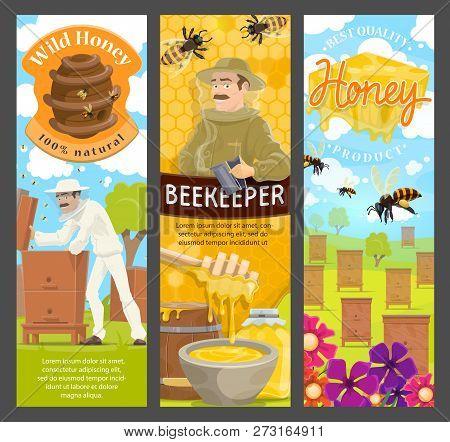 Beekeeping Farm Natural Honey, Beekeeper, Bee And Apiary Beehive, Honeycomb, Flower Nectar And Jar W