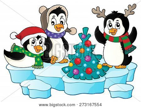 Christmas Penguins Thematic Image 2 - Eps10 Vector Picture Illustration.