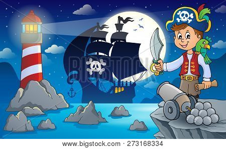 Night Pirate Scenery 7 - Eps10 Vector Picture Illustration.