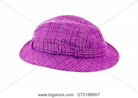 Purple Plaid Hat Isolated On White Background