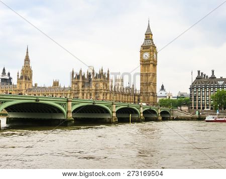 London, United Kingdom - June 10, 2013: Houses Of Parliament, Big Ben Clocktower And Westminster Bri