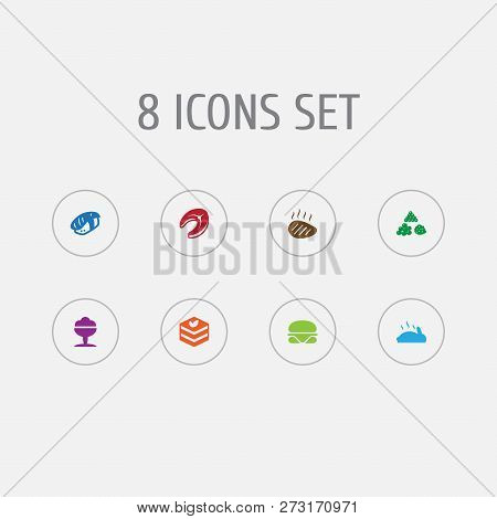 Set Of 8 Food Icons Set. Collection Of Raw Fish, Beefsteak, Ice Cream And Other Elements.