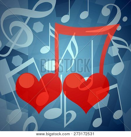 Two Romantic Loving Hearts Together As A Musical Note