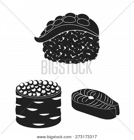 Vector Illustration Of Sushi And Fish Sign. Collection Of Sushi And Cuisine Stock Symbol For Web.