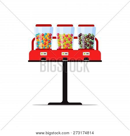 Gumball Or Candies Vending Machine With Colorful Bubble Gum, Sweetness, Sweetmeat Isolated On White.