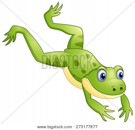 Vector Illustration Cartoon Of The Cute Frog Leaping