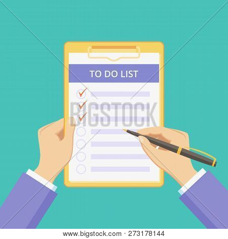 Todo List On Clipboard With Hands Vector Illustration. Checklist Document With Task To Do On Board W