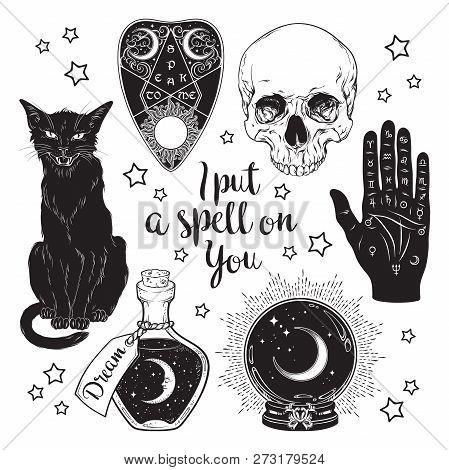 Magic Set - Planchette, Skull, Palmistry Hand, Crystal Ball, Bottle And Black Cat Hand Drawn Art Iso