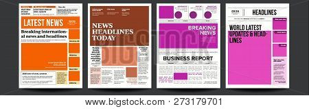 Newspaper Cover Set Vector. With Text And Images. Daily Opening News Text Articles. Press Layout. Ma