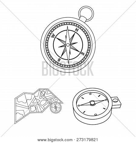 Isolated Object Of Compass And Travel Sign. Collection Of Compass And Orientation Vector Icon For St