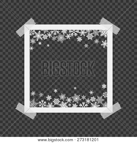 Christmas Photo Frame With Shadow. Photo Frames With Adhesive Tape. Template Photo Frame With Snowfl