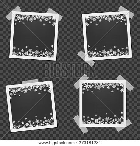 Set Of Christmas Photo Frame With Shadow. Photo Frames With Adhesive Tape. Template Photo Frames Wit