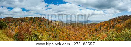 Blue Ridge Mountains In Late Autumn Color Panorama Landscape On The Blue Ridge Parkway In North Caro