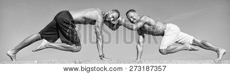 Daily Exercise Concept. Men Motivated Workout Outdoors. Improve Endurance By Push Ups. Men Shirtless