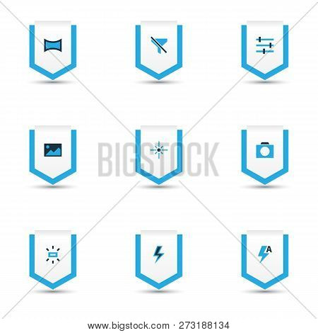 Image Icons Colored Set With Tune, Lightning, Image And Other Sparkle Elements. Isolated  Illustrati