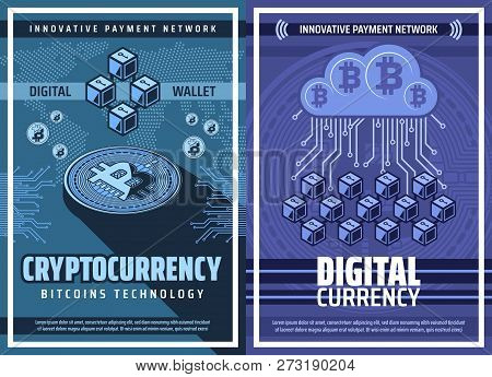 Cryptocurrency, Bitcoin Wallet Blockchain, Crypto Currency Or Digital Money Technology Vector Poster