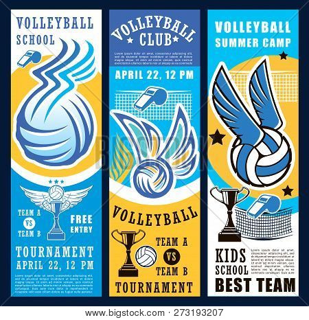 Volleyball Sport Club Teams Tournament Banners. Vector Balls, Net, Winner Trophy Cup And Referee Whi