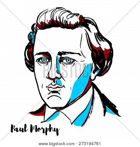 Russia, Moscow - December 07, 2018: Paul Morphy Engraved Vector Portrait With Ink Contours. American