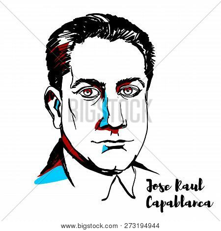 Russia, Moscow - December 07, 2018: Jose Raul Capablanca Engraved Vector Portrait With Ink Contours.