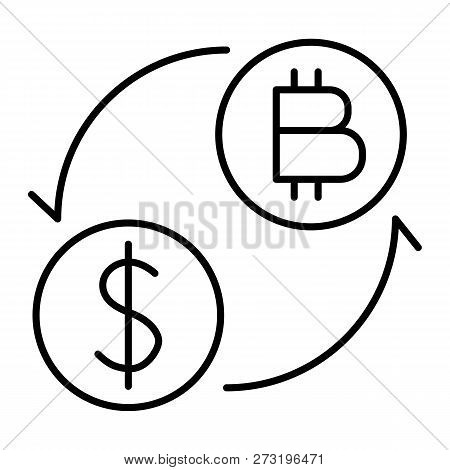 Coins Of Dollar And Bitcoin With Arrows Thin Line Icon. Dollar And Bitcoin Exchange Vector Illustrat