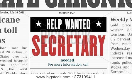 Secretary Job Offer - Office Career. Newspaper Classified Ad In Fake Generic Newspaper.