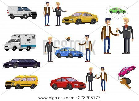 Design Concept Of Choice Car And Buying A Car. Vector Cool Flat, Illustration, Detailed Character Bu