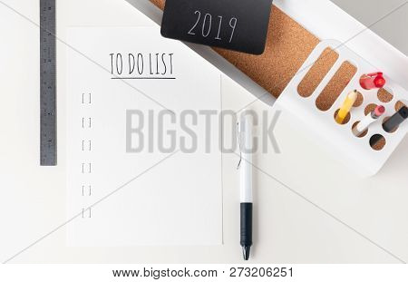 Top View To Do List 2019 Paper Note On Modern Office Stationery On White Table.pencil, Notepad,ruler