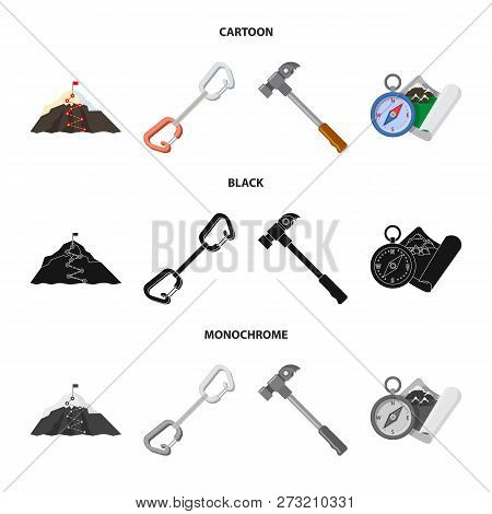 Vector Illustration Of Mountaineering And Peak Icon. Collection Of Mountaineering And Camp Stock Vec