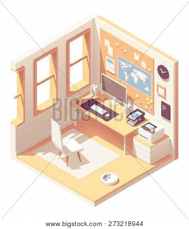 Vector Isometric Home Office Room Cross-section With Desk, Document Organizer, Desktop Pc, Chair, Pr