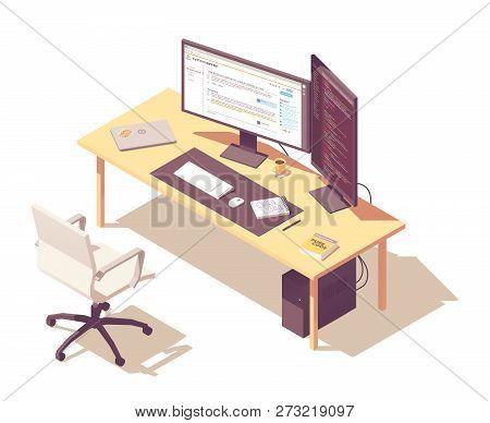 Coder Or Programmer Office Workspace. Vector Isometric Desk, Desktop Pc, Two Computer Monitors, Lapt