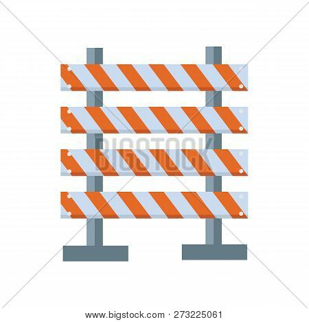 Road Barrier Icon Flat Isolated On White Background. Road Barrier Against. Street Barrier. Vector St