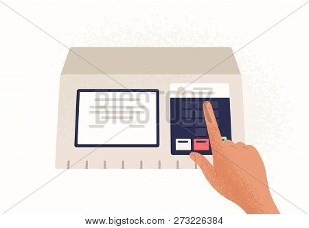 Finger Pressing Button On Electronic Voting Machine Isolated On White Background. Device Used In Pol
