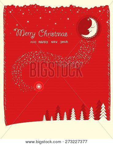 Nice Moon And Stars.vector Christmas Card