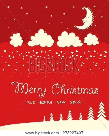 Red Christmas Card Background On Winter Moon Night. Vector Illustration With Text