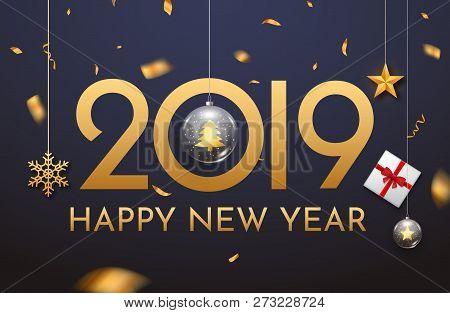 2019 New Year Shining Background With Ball. Happy New Year 2019 Celebration Decoration Poster, Festi