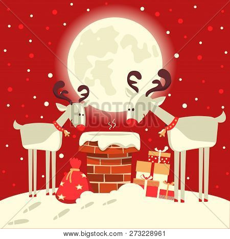 Santa Claus In The Chimney With Deers In The Christmas Holiday Winter Night. Vector Illustration
