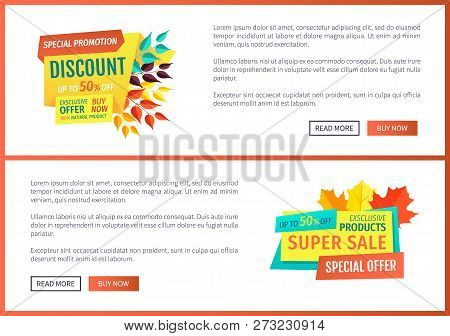 Special Discount Promotion Set Of Posters With Decorated Banners. Autumn Leaves And Super Autumnal S