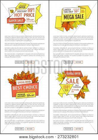 Sale Promo Posters Set With Maple Leaves, Oak Foliage Autumn Symbols On Advert Leaflets. Exclusive O