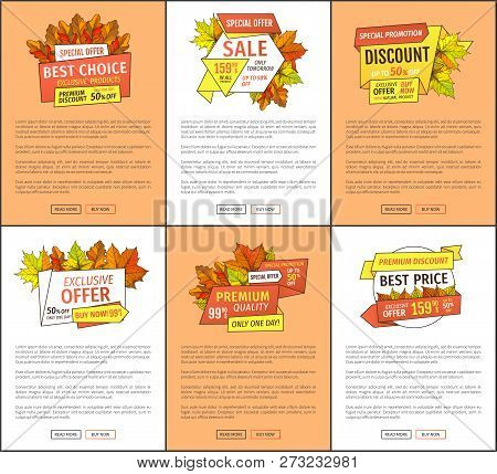 Special Exclusive Offer Buy Now Posters Set With Oak Leaves. Vector Autumn Sale Banner, Yellow Folia