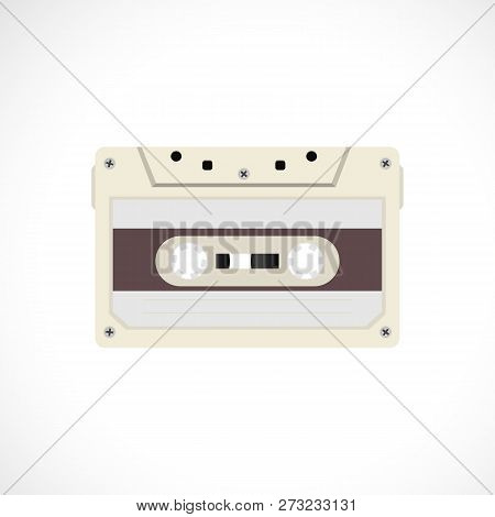 Retro Style Magnetic Audiotape. 1980s Vintage Album Music Storage Device. Old Audio Tape Cassette.